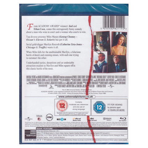 INTOLERABLE CRUELTY blu-ray back cover