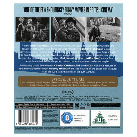 THE LAVENDER HILL MOB blu-ray back cover