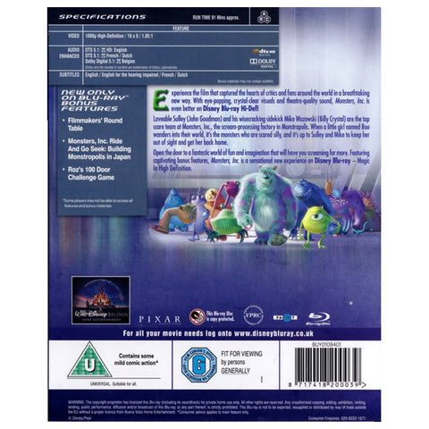MONSTERS INC blu-ray back cover
