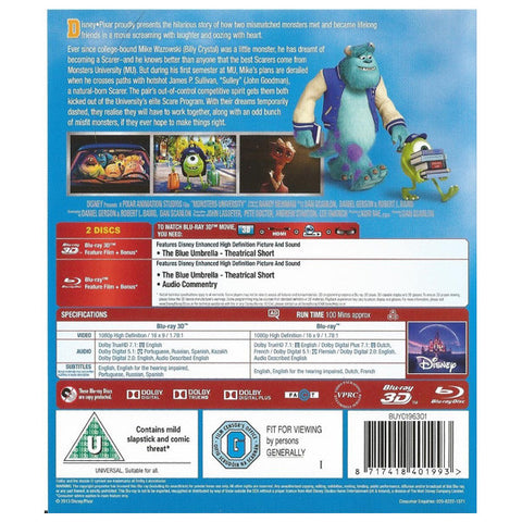 Monsters University 3D blu-ray back cover