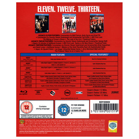 OCEAN'S TRILOGY blu-ray back cover