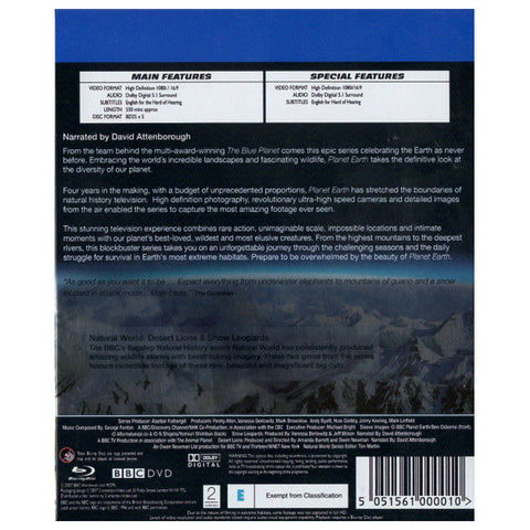 PLANET EARTH blu-ray back cover