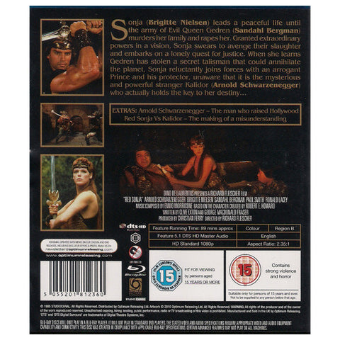 RED SONJA blu-ray back cover