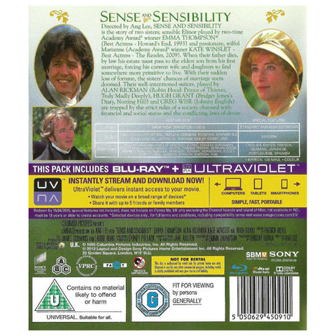 Sense and Sensibility blu-ray back cover