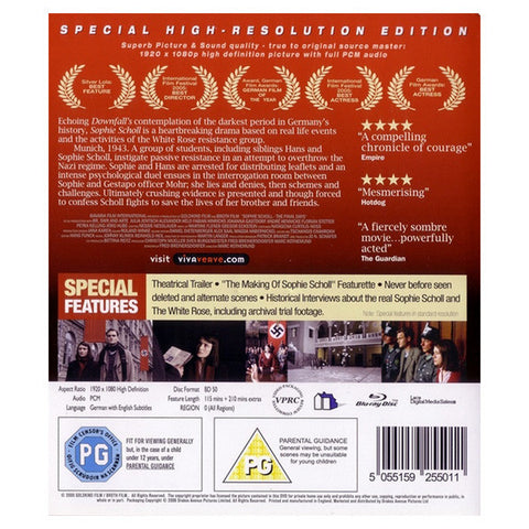 SOPHIE SCHOLL: THE FINAL DAYS blu-ray back cover
