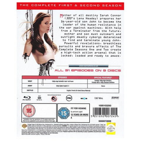 TERMINATOR: THE SARAH CONNOR CHRONICLES - SERIES 1-2 blu-ray back cover