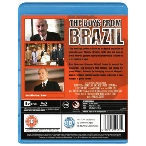 THE BOYS FROM BRAZIL blu-ray back cover