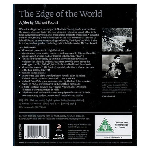 THE EDGE OF THE WORLD blu-ray back cover