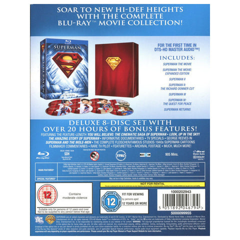 he Superman Motion Picture Anthology blu-ray back cover