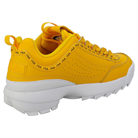 faee3758bca25 Fila Disruptor 2 Premium Repeat Womens Yellow Leather & Synthetic Trainers