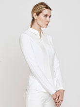 Load image into Gallery viewer, Cindy Long Sleeve Knit and Woven Shirt- Ivory Pintuck