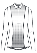 Load image into Gallery viewer, Cindy Long Sleeve Knit and Woven Shirt- White Pintuck
