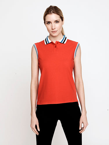 Phoenix Sleeveless Performance Pique Polo- Poppy