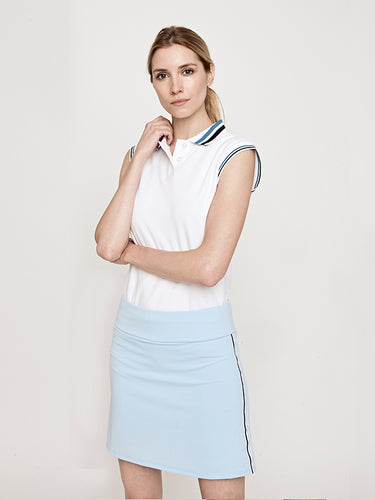 Phoenix Sleeveless Performance Pique Polo-White with Teal