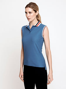 Phoenix Sleeveless Performance Pique Polo-Teal