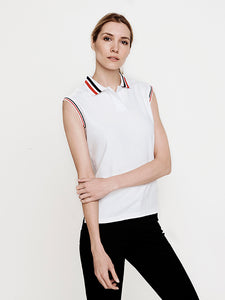 Phoenix Sleeveless Performance Pique Polo-White with Poppy