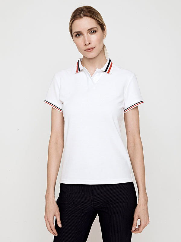 Phoenix Short Sleeve Performance Pique Polo- White with Navy/Poppy
