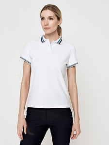 Phoenix Short Sleeve Performance Pique Polo- White with Navy/Teal