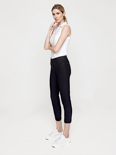 Emy Stretch Seersucker Crop Pant- Midnight Blue