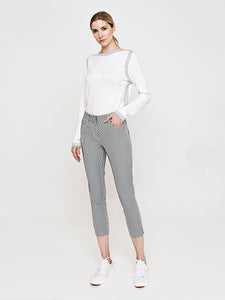 Emy Stretch Seersucker Crop Pant-Navy