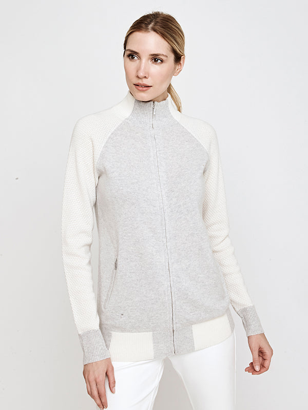 Francesca Full Zip Cashmere Blend Sweater Jacket- Grey/Ivory