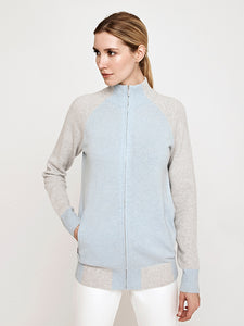 Francesca Full Zip Cashmere Blend Sweater Jacket-Sky Blue/Grey