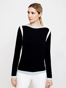 Marisa Cashmere Blend Sweater-Navy