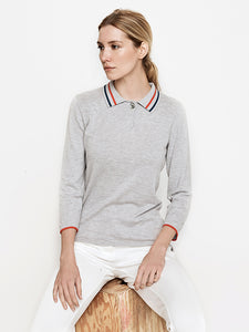 Ace 3/4 Sleeve Tipped Sweater- Grey