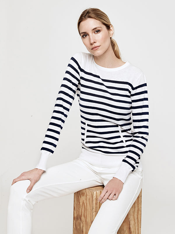 Nikki Crewneck Stripe Sweater- Navy