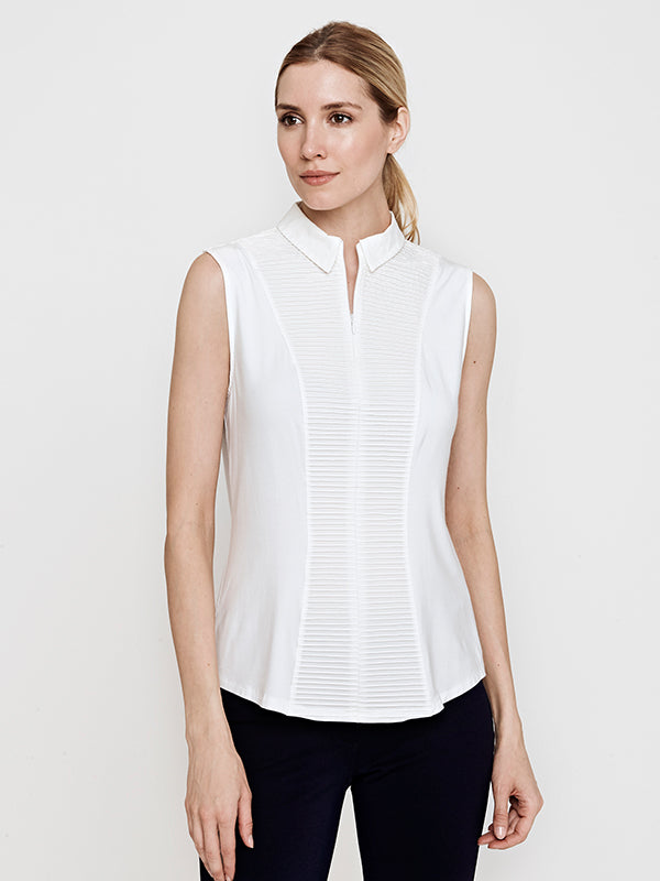 Cindy Sleeveless Knit and Woven Shirt- White Pintuck