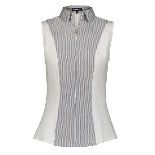 Cindy Sleeveless Knit and Woven Shirt- Grey Stripe