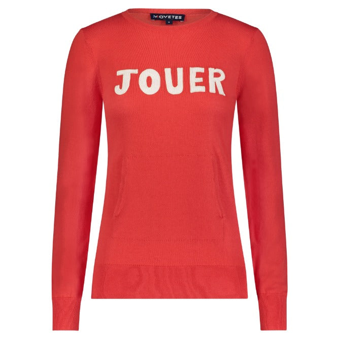 Jouer Crewneck Embroidered Applique Sweater- Poppy