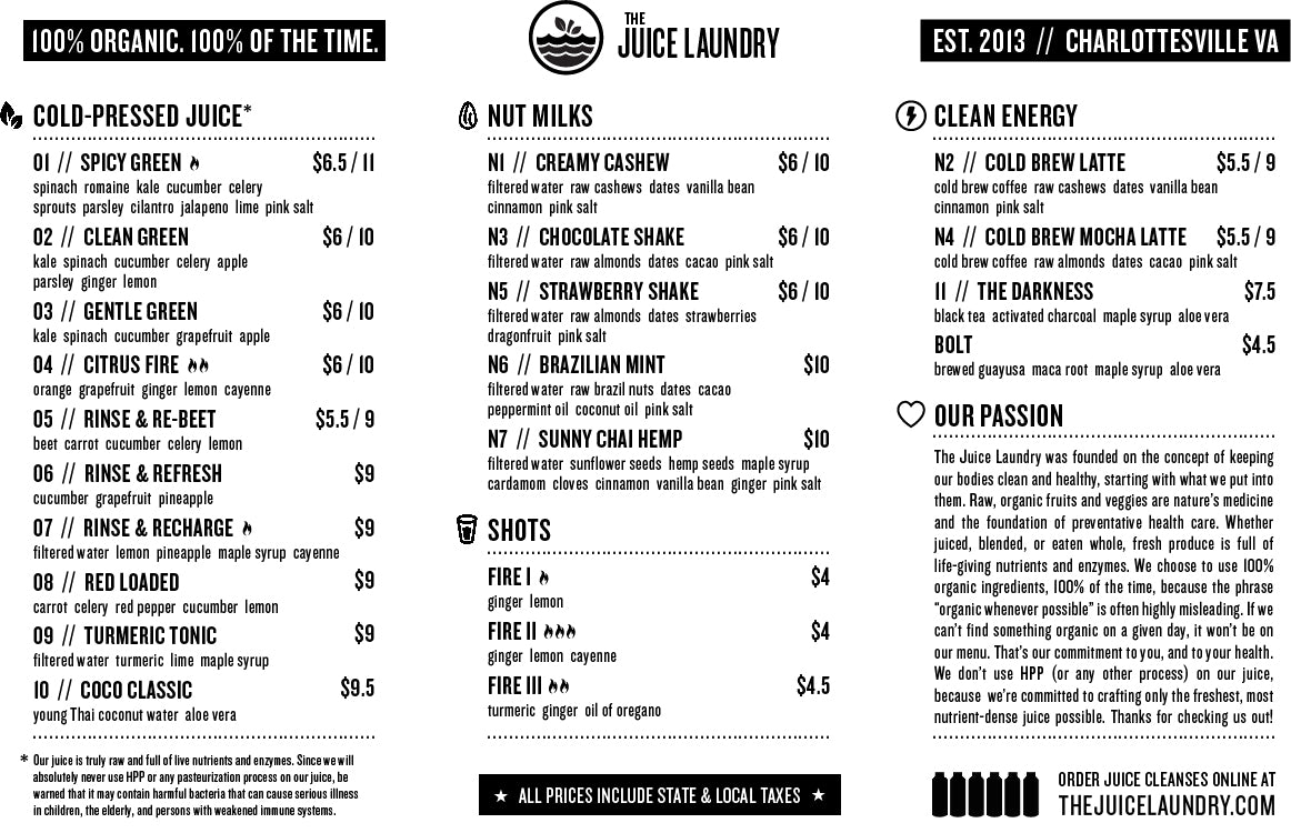 Juice & Milks Menu