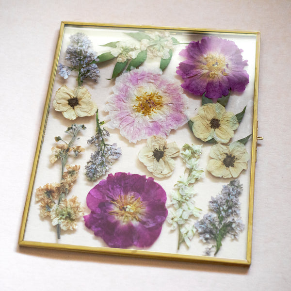 "Pressed Flowers in 11x13"" Brass Frame"