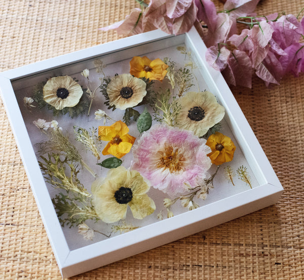"Pressed Flowers in 10x10"" Shadow Box"