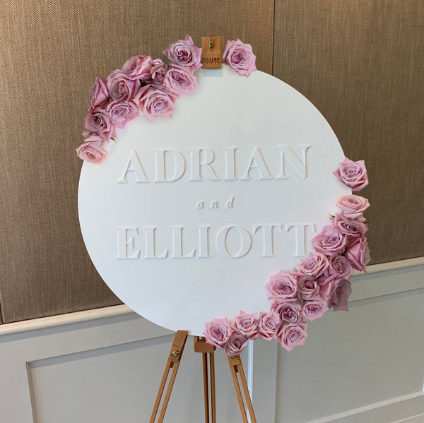 Round White Acrylic Overlay Sign