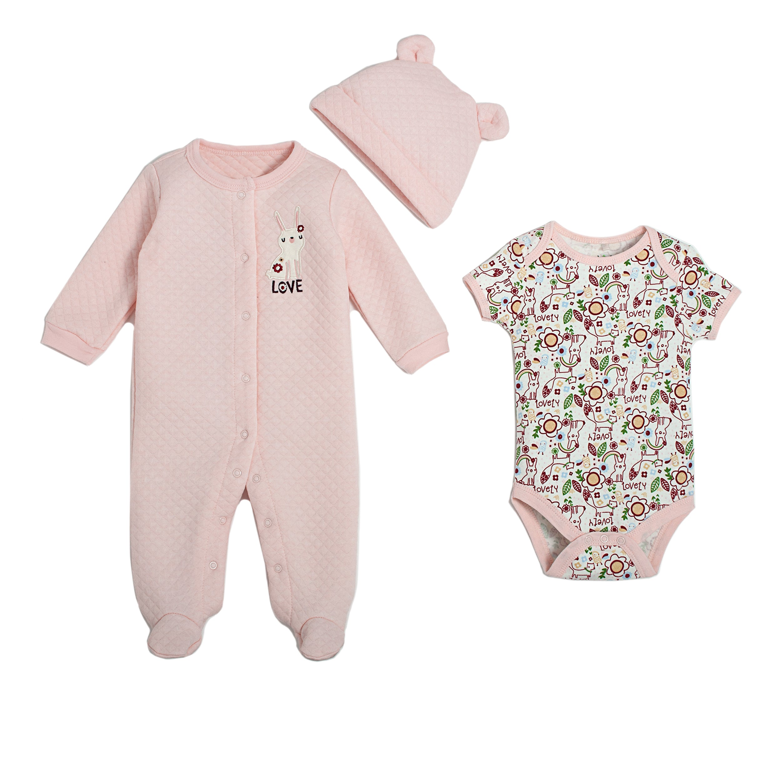 3 Piece Quilted Footed Coverall, Hat & Bodysuit