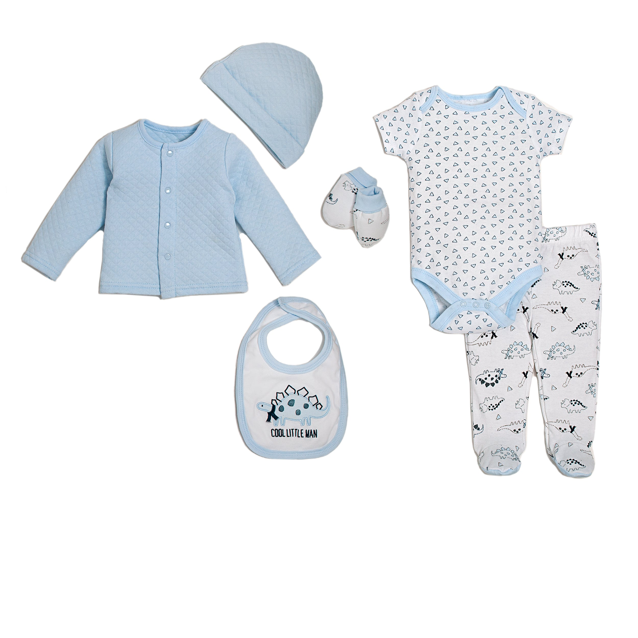 6 Piece Quilted Cardigan Set-Dino Boy