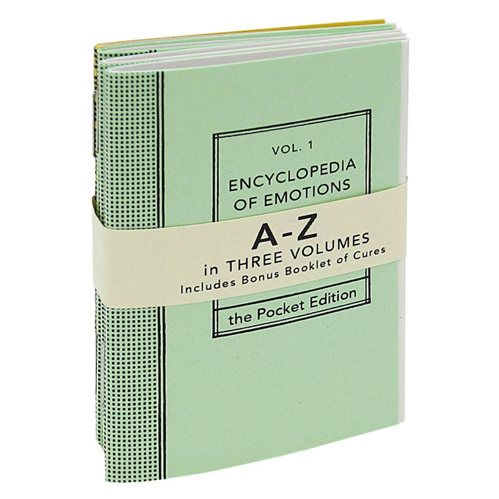 This 3 volume pocket sized A-Z Encyclopedia features every emotion imaginable and uses examples to help the reader decide if they are suffering. A book of Common Cures is also included as reference. It includes possible solutions to the potentially suffered emotions.
