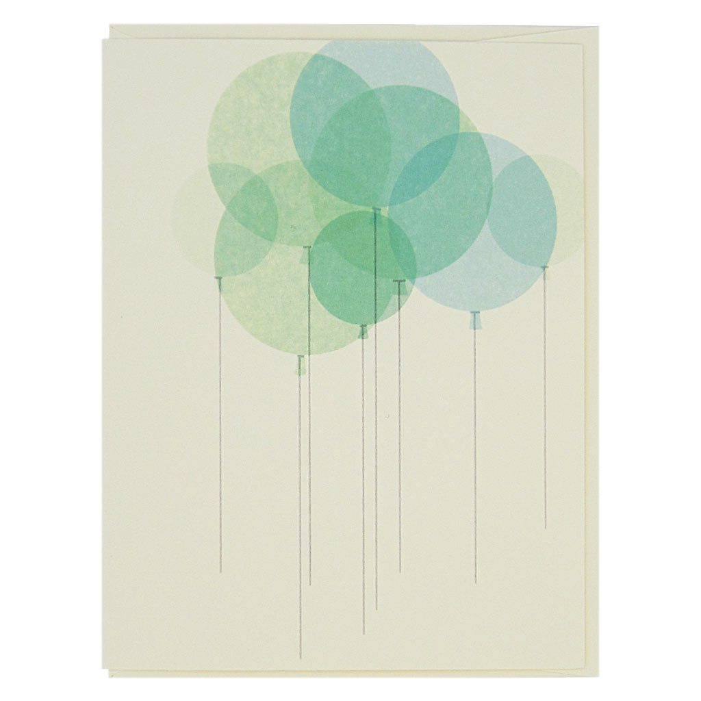 "This birthday card is a bunch of pretty overlapping mint green balloons on a cream coloured card. It is very elegant. Hip hip hooray. Measures 4¼"" x 5½"", comes with a cream envelope & is blank inside. Designed by The Regional Assembly of Text."