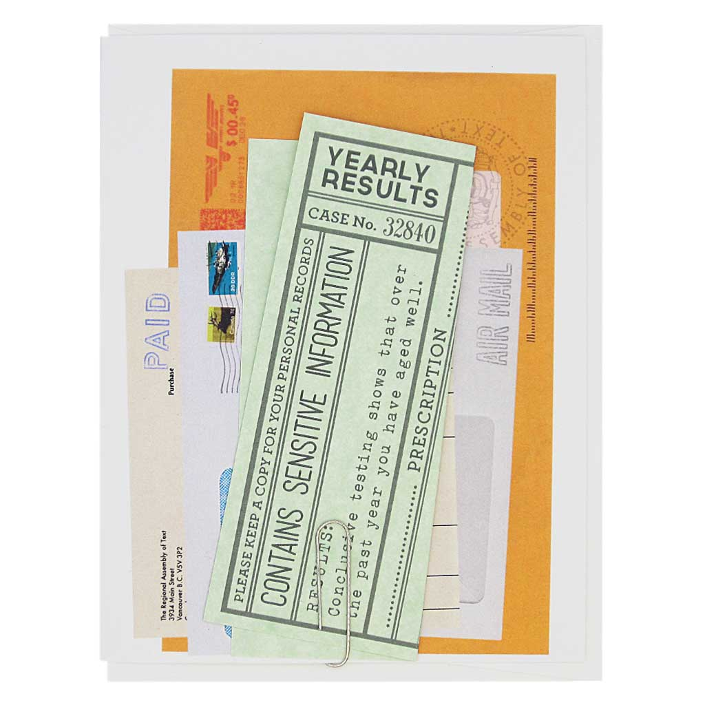 "This card looks like a pile of mail with a vintage feel and has an official birthday note attached to the front with a paper clip. Remove and unfold to reveal the message which looks like a doctors note prescribing the recipient to do something nice for themselves. Measures 4¼"" x 5½"", comes with a white envelope & is blank inside."