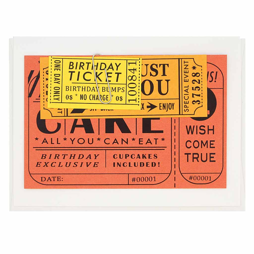 "This birthday card comes with three clever little tickets to be used by the recipient. Tickets, which have coupons for things like the birthday bumps and extra cake, are attached to the card with a handy paperclip. Measures 4¼"" x 5½"", comes with a white envelope & is blank inside. Designed by The Regional Assembly of Text."