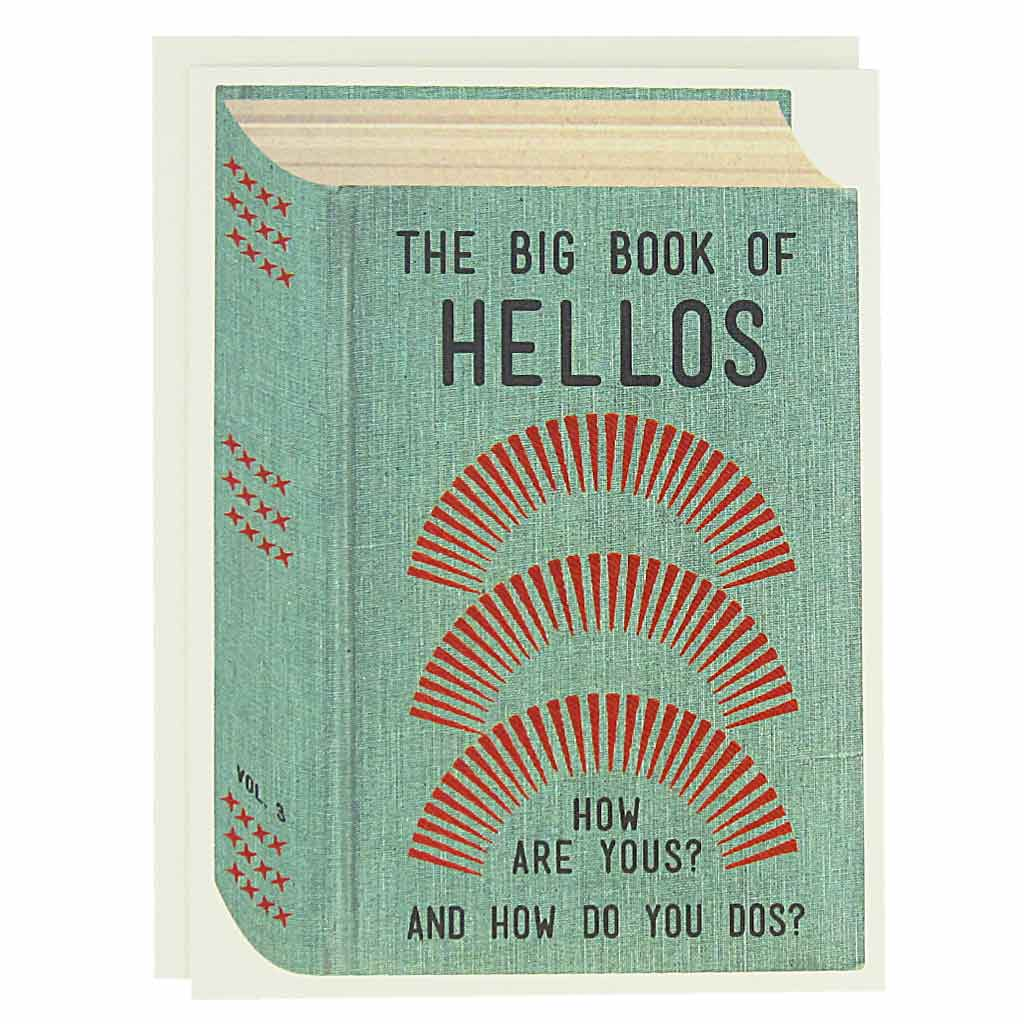 "Say hello to all the bookish types in your life. Features a collage of a vintage book cover that reads 'The Big BOok of Hellos, How are Yous and How do you Dos?'Boxed set contains 12 identical cards (blank inside) & 12 cream envelopes. Cards measure 4¼"" x 5½""."