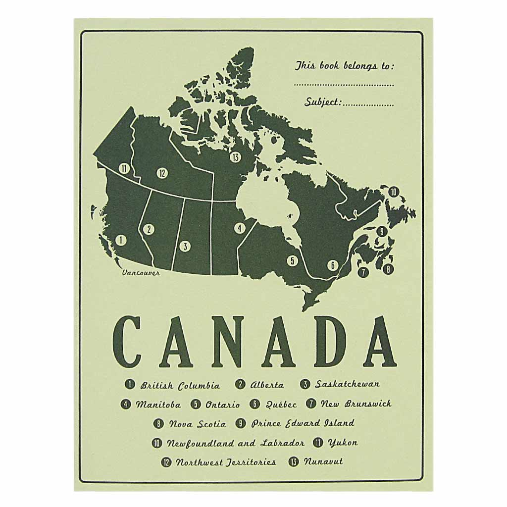 "This little notebook is inspired by vintage school composition books from days gone by. It is light green with a dark green map of Canada and a list of all the provinces and territories. Contains 14 pages of plain recycled paper. Measures 5 ¼"" x 7"" and is staple bound. Designed by The Regional Assembly of Text."