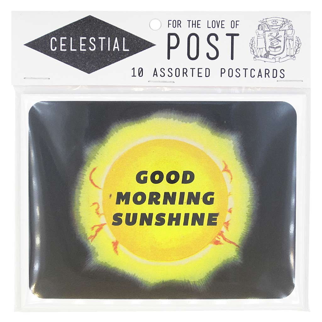 "This pack of celestial themed postcards is perfect to send for almost any occasion. Contains 10 postcards, 2 of each design. Postcards measure 4 ¼"" x 5 ½""."