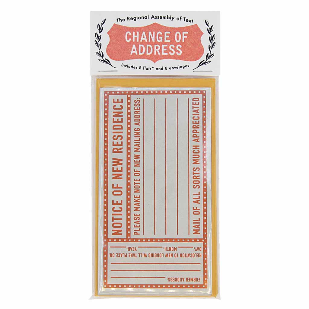 "Announce your new home with this handy set of change of address notifications. Contains 8 flats & 8 orange coin envelopes and measures 3"" x 5½"". (Note: flats are single sided cards)"