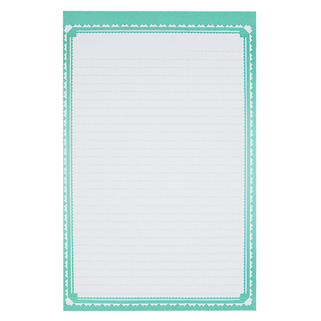 "Perfect for a heartfelt letter or your favourite recipe. This mint dotted notepad with an ornate border measures 5 ½ x 8 ½"" and has approximately 50 pages of recycled paper."