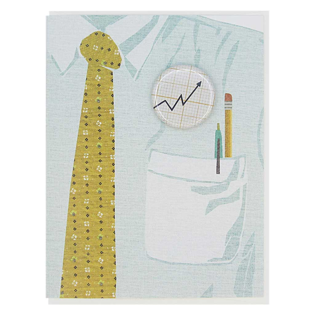 "This greeting card is a collage of a light blue shirt with a yellow tie and has a button of a upwards graph on the chest.  The button is 1¼"" and can be taken off and proudly worn by the recipient. Card measures 4¼"" x 5½"", comes with a white envelope & is blank inside. Designed by The Regional Assembly of Text."
