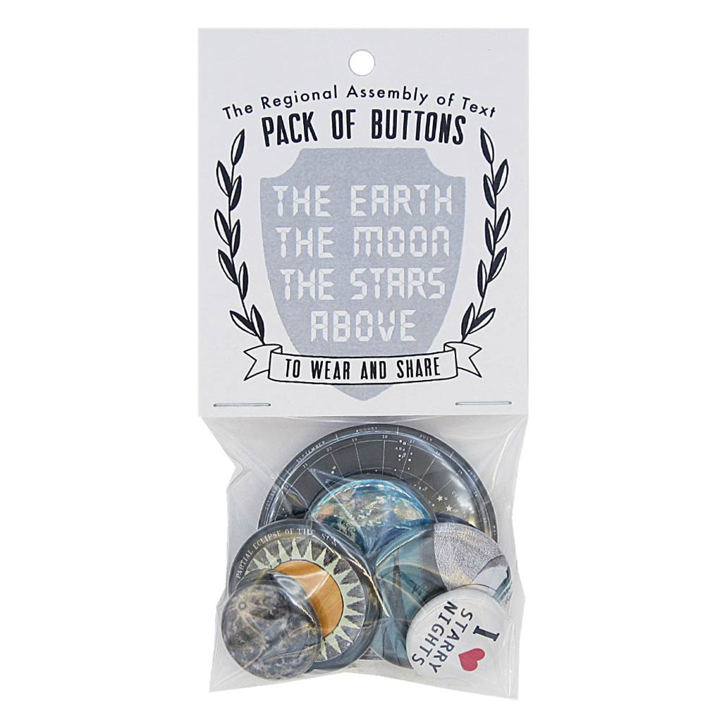 This pack of buttons has 6 buttons of varying sizes. Button images include Outer Space themed buttons. Designed by The Regional Assembly of Text.