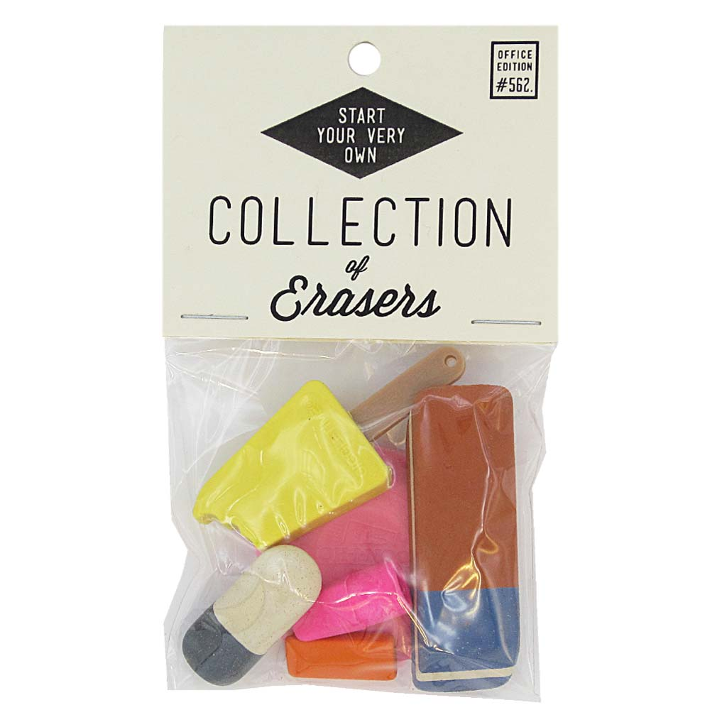 This little bag of erasers will help you start your collection or add to any pre-existing one. Erasers vary in shape and size and colour. It is a pretty little pack. Erasers may vary from this photo but will be equally adorable. Designed by The Regional Assembly of Text.